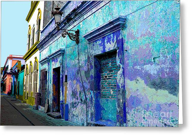 Blue Wall by Michael Fitzpatrick Greeting Card by Olden Mexico