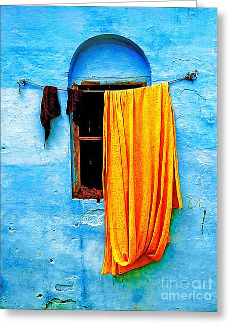 Wall Greeting Cards - Blue Wall with Orange Sari Greeting Card by Derek Selander
