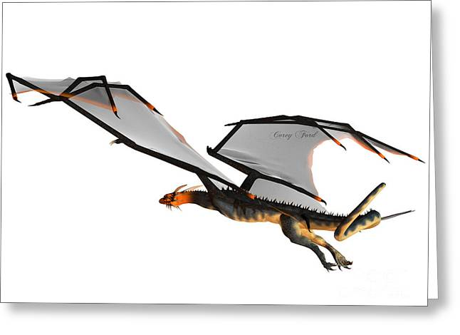 Fantasy Creatures Greeting Cards - Blue Wasp Dragon Flight Greeting Card by Corey Ford