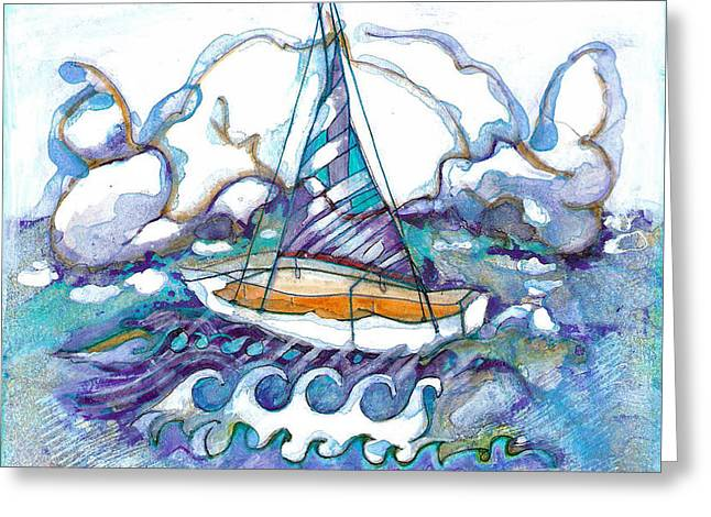 Yellow Sailboats Greeting Cards - Blue Water Greeting Card by Joy Calonico