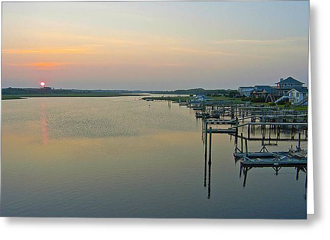 Holden Beach Greeting Cards - Blue Water Point sunset Greeting Card by Robert Ponzoni