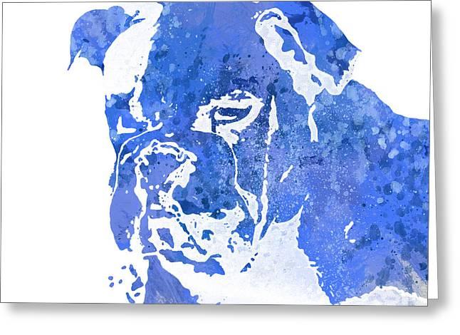 Bully Mixed Media Greeting Cards - Blue Watercolor Bulldog Greeting Card by Joseph Dollison