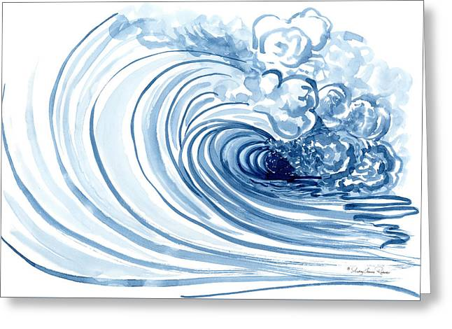 Big Surf Greeting Cards - Blue Wave Modern Loose Curling Wave Greeting Card by Audrey Jeanne Roberts