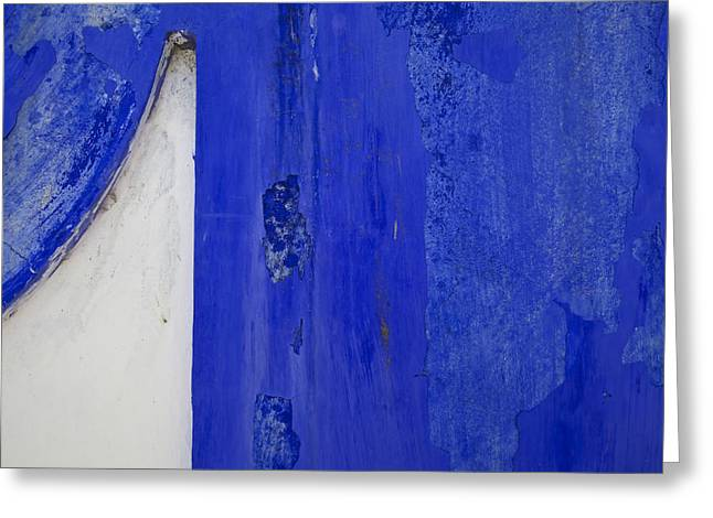 David Letts Greeting Cards - Blue Weathered Wall of Old World Europe Greeting Card by David Letts