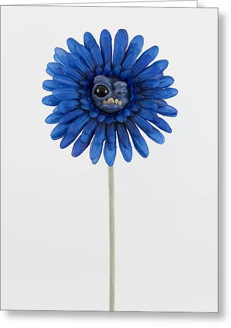 Loving Sculptures Greeting Cards - Blue Weird Flower Greeting Card by Michael Palmer