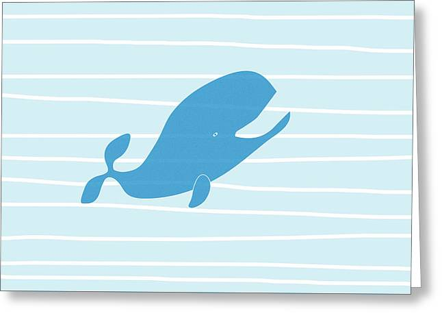 Blue Whale Greeting Card by Frank Tschakert