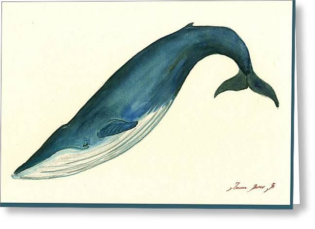 Rights Paintings Greeting Cards - Blue Whale painting Greeting Card by Juan  Bosco