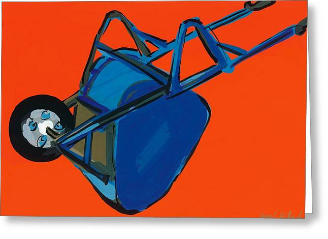 Overturn Greeting Cards - Blue Wheelbarrow Greeting Card by Sarah Gillard