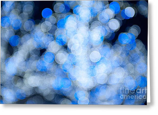 Twinkle Greeting Cards - Blue white sparkles and circles bokeh abstract  Greeting Card by Arletta Cwalina
