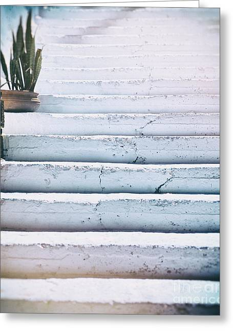 Traditional Doors Greeting Cards - Blue white steps Greeting Card by Patricia Hofmeester