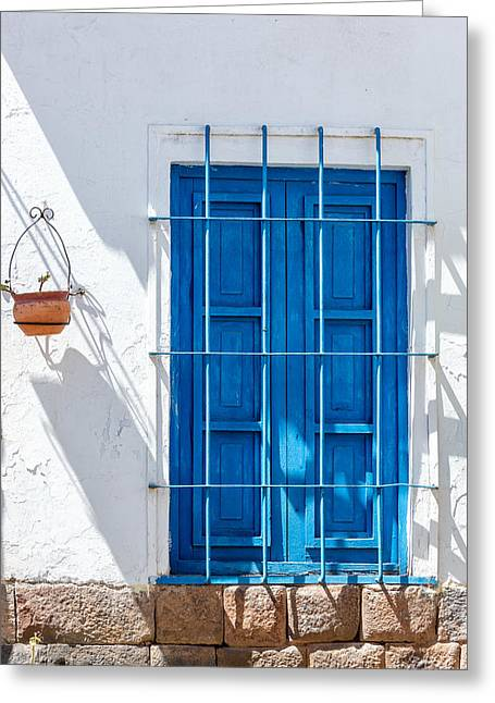 Lost Civilization Greeting Cards - Blue Window and White Wall Greeting Card by Jess Kraft