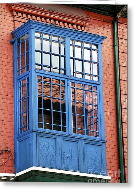 Blue Window In Bogota Greeting Card by John Rizzuto