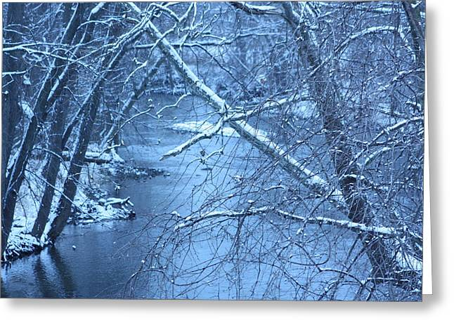 Beautiful Creek Mixed Media Greeting Cards - Blue Winter Greeting Card by Bruce McEntyre