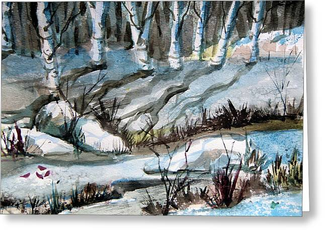 Calendar Drawings Greeting Cards - Blue Winter Greeting Card by Mindy Newman