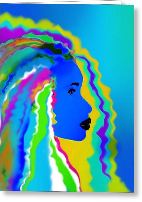 African-american Digital Greeting Cards - Blue Woman Greeting Card by Cindy Edwards