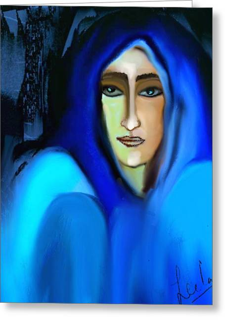 Pensive Greeting Cards - Blue Woman Greeting Card by Leela Jose