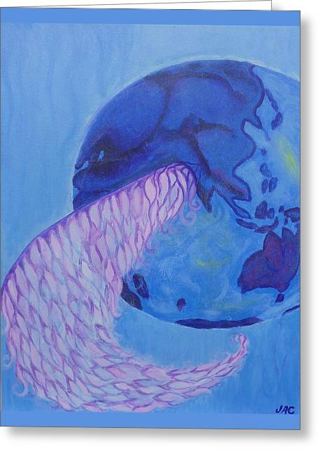 Angel Blues Greeting Cards - Blue World Greeting Card by Jane Alexandra Cormack