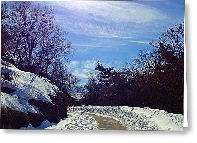Snow Tree Prints Greeting Cards - Blue World Greeting Card by Ydania Ogando