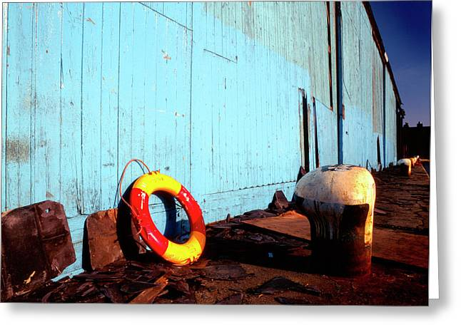 Blue Yellow and Red Greeting Card by Peter OReilly