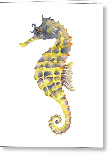 Blue Yellow Seahorse - Square Greeting Card by Amy Kirkpatrick