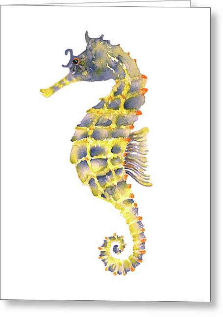 Blue Yellow Seahorse - Vertical Greeting Card by Amy Kirkpatrick