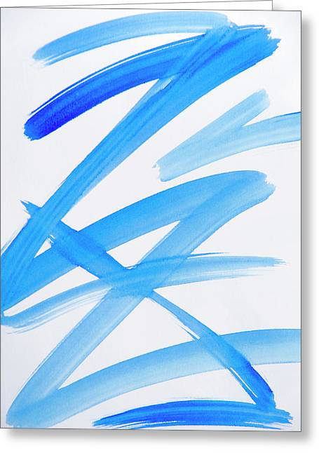 Printed Greeting Cards - Blue Zig Zag Abstract Art Greeting Card by Christina Rollo