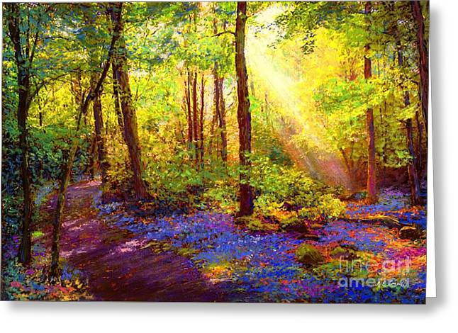 Yellow Trees Greeting Cards - Bluebell Blessing Greeting Card by Jane Small