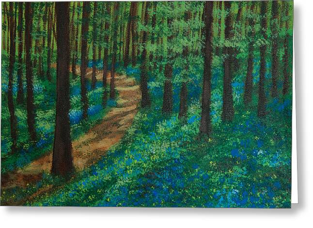 Sun Rays Paintings Greeting Cards - Bluebell Forest Greeting Card by Elizabeth Mundaden