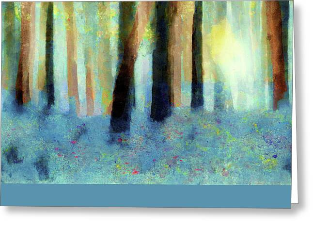 Bluebell Wood-abstract Painting By V.kelly Greeting Card by Valerie Anne Kelly