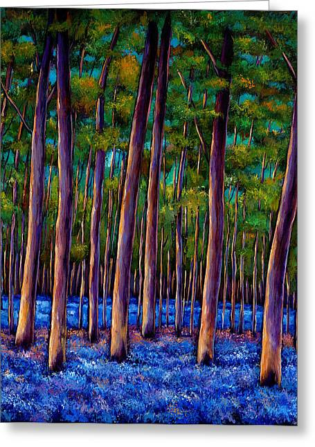 Rural Landscapes Paintings Greeting Cards - Bluebell Wood Greeting Card by Johnathan Harris