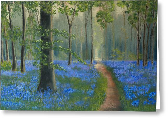 Thomas Pastels Greeting Cards - Bluebell Wood Greeting Card by Sue Thomas