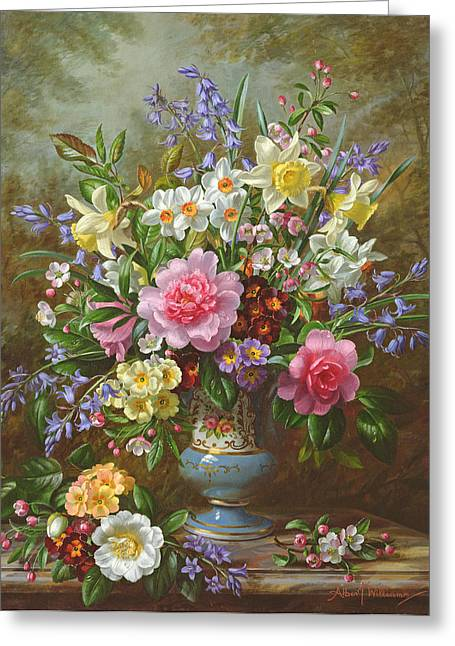 Primroses Greeting Cards - Bluebells daffodils primroses and peonies in a blue vase Greeting Card by Albert Williams