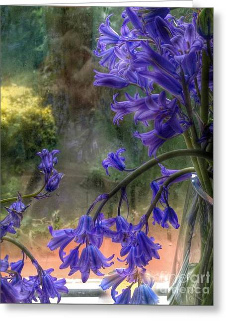 Glass Vase Greeting Cards - Bluebells in My Garden Window Greeting Card by Joan-Violet Stretch
