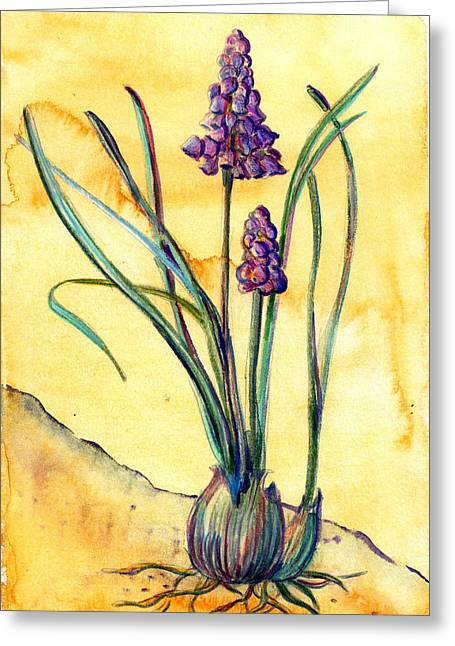 Spring Bulbs Mixed Media Greeting Cards - Bluebells Greeting Card by Mindy Newman