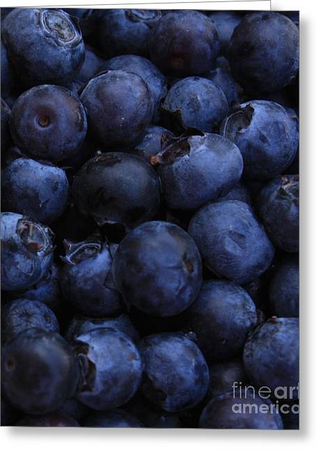 Blueberries Close-up - Vertical Greeting Card by Carol Groenen