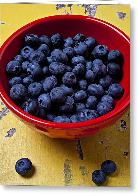 Deciduous Greeting Cards - Blueberries in red bowl Greeting Card by Garry Gay