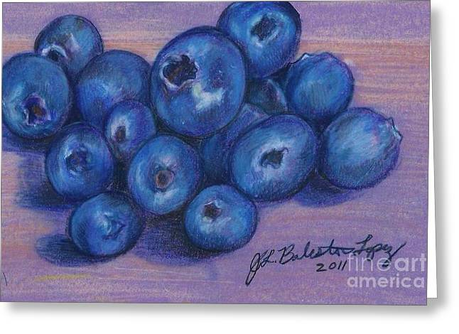 Blueberry Drawings Greeting Cards - Blueberries Greeting Card by Jamey Balester