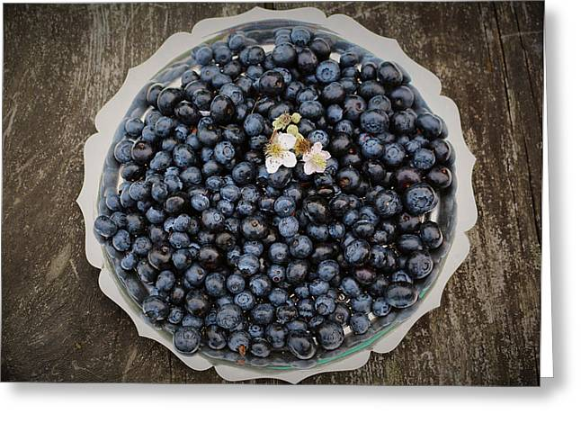 Harvest Art Greeting Cards - Blueberries on a Silver Tray Greeting Card by Vicky Adams