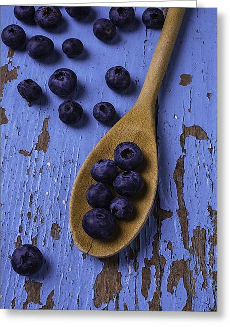 Wooden Spoon Greeting Cards - Blueberries On Blue Board Greeting Card by Garry Gay