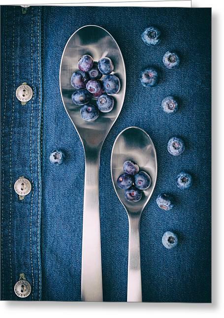 Blueberries On Denim I Greeting Card by Tom Mc Nemar