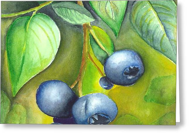 Blueberrries Greeting Card by Angela Armano