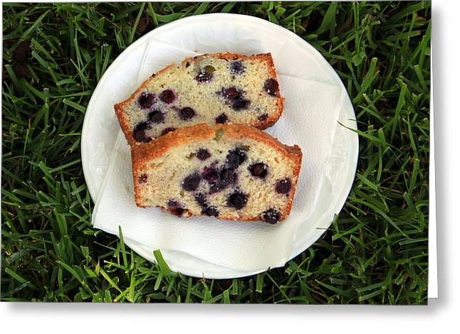 Blueberry Bread Greeting Card by Linda Woods