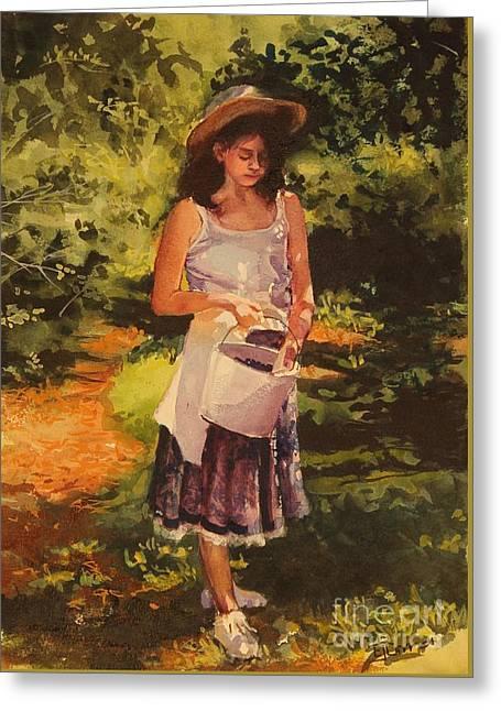 Blueberry Girl Greeting Card by Elizabeth Carr