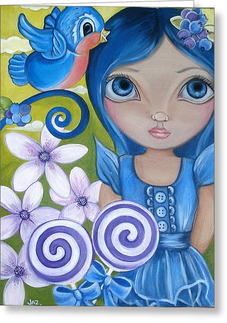 Blueberry Greeting Card by Jaz Higgins