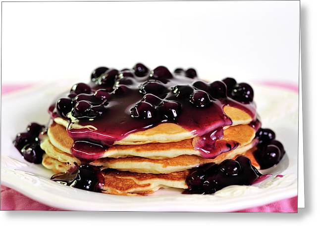 Pancakes Greeting Cards - Blueberry Pancakes Greeting Card by Betty LaRue