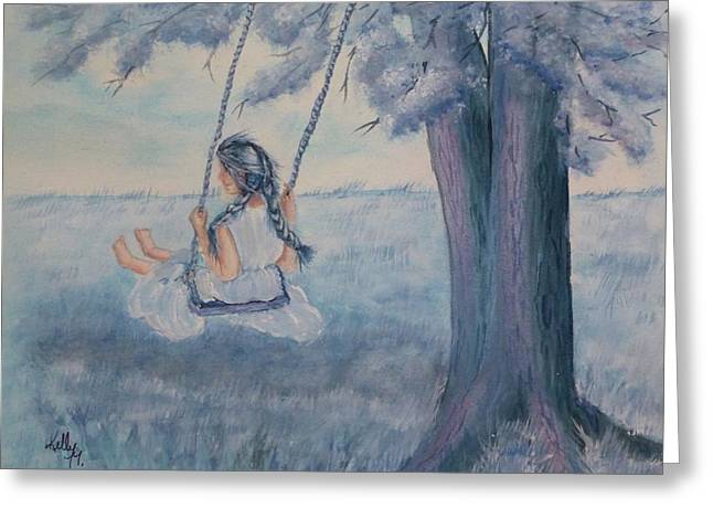 Blueberry Swing Greeting Card by Kelly Mills