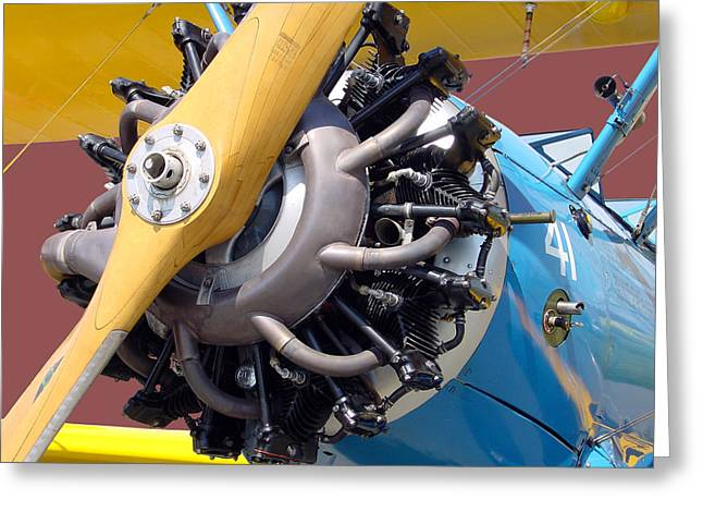 Aircraft Engine Greeting Cards - BlueBiPlane Greeting Card by Robert Trauth