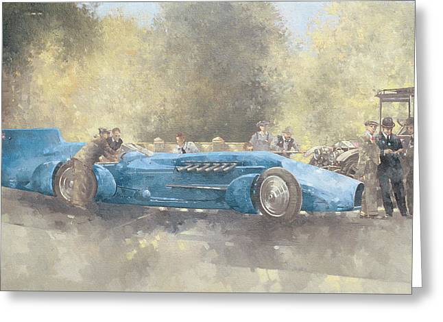 Land Speed Racing Greeting Cards - Bluebird and Ghost Greeting Card by Peter Miller