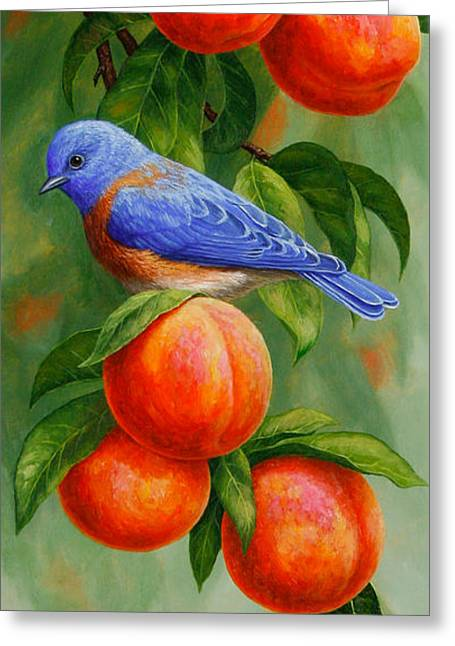 Peach Greeting Cards - Bluebird and Peaches iPhone Case Greeting Card by Crista Forest