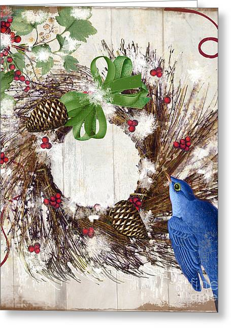 Wreath Paintings Greeting Cards - Bluebird Christmas II Greeting Card by Mindy Sommers